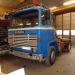 Håkan Hollsten Scania LB111- 75 gått som plogbil på Skafta flygfält nu trailerdragare och kran